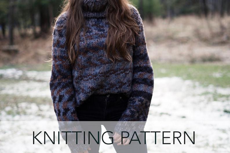 fdb51c0ff Knitting Pattern    Slouchy Raglan Turtleneck Top Down