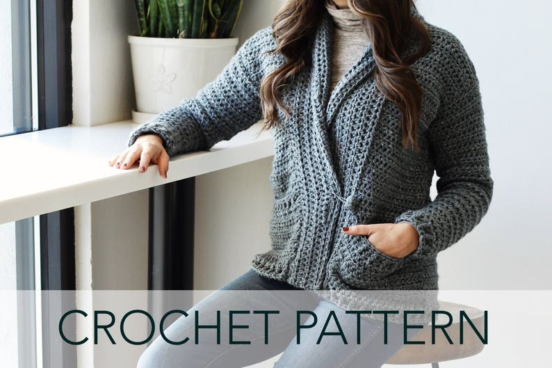 d6cb41823 Crochet Pattern    Chunky Shawl Collar Grandpa Pockets