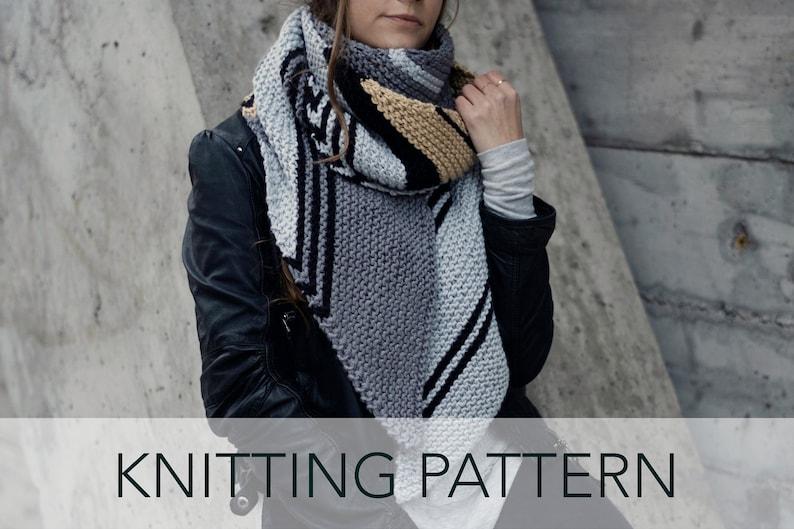 Knitting Pattern Striped Diagonal Long Bias Scarf Metro Etsy