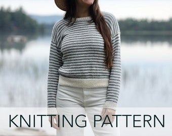 Knitting Pattern // Striped Sailor Nautical Drop Sleeve Summer Crewneck Pullover // Le Bateau Sweater PATTERN