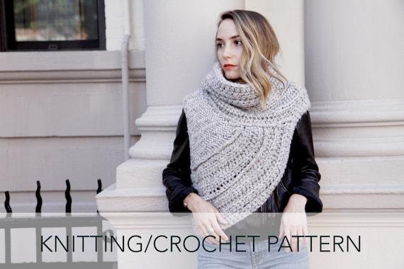 Knittingcrochet Pattern Asymmetric Cowl Vest Shawl Scarf Etsy