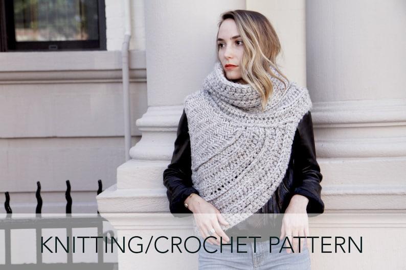 1d0e5da33aba4 Knitting Crochet Pattern    Asymmetric Cowl Vest Shawl Scarf