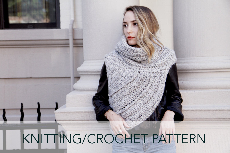 Knitting/Crochet Pattern // Asymmetric Cowl Vest Shawl Scarf | Etsy