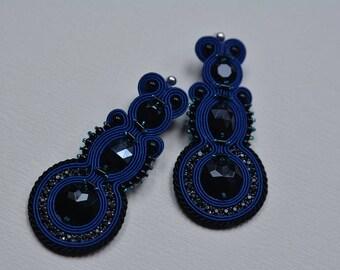Blue, big - soutache earrings - Gift for her