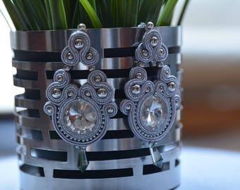Silver - soutache earrings - Gift for her