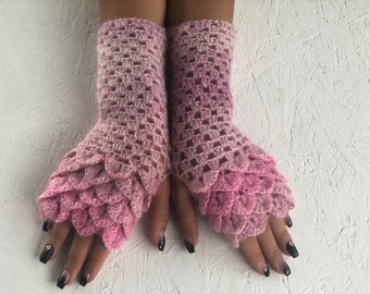 dragon scale  Fingerless Crocheted Gloves Arm Warmers dragon scale gloves pink  fingerless ,gift  winter accessory, woman accesories