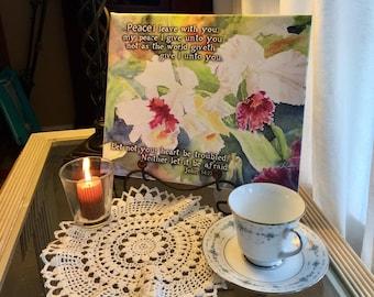 "White Orchids - John 14 inspirational scripture canvas print 10""x12""x0.75"""
