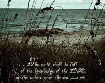 Beach sea oats Isaiah 11:9 - inspirational scripture bible art print
