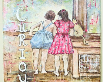 """Be Curious- original acrylic canvas painting for children 9""""x12""""x1/2"""""""