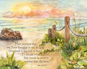 Beach Post Sunrise- Psalm 139 inspirational bible print