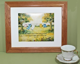 Clothes Line- Psalm 51:10 inspirational scripture bible print, nostalgia clothesline, country clothesline
