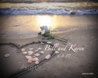 Heart Rose in the Sand Personalized Print- Romantic beach sunrise with heart drawn in the sand and rose pedals