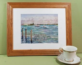 Sebastian Marina- Psalm 31:24 Inspirational Scripture Art Print, nautical home decor, ocean watercolor
