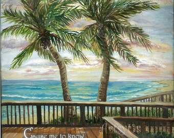 Boardwalk with two palms Psalm 143:8b - inspirational scripture bible art print