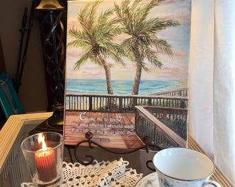"Boardwalk with two palms Psalm 143:8b - inspirational scripture bible art canvas print 10""x12""x.0.75"""