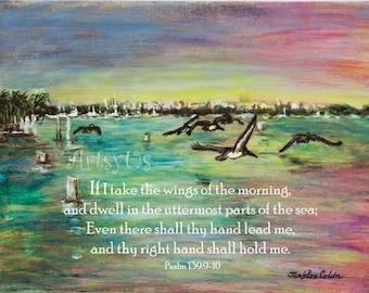 Pelicans Fly Psalm 139:9-10 Inspirational scripture art print