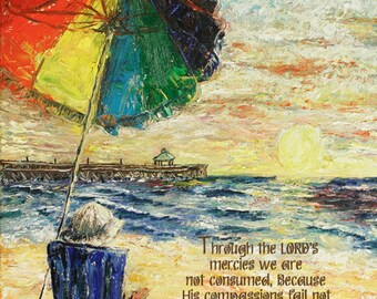 Beach Umbrella Sunrise, Lamentations 3:22-23 - Inspirational scripture bible art print