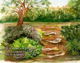 Steps - Psalm 37:23 inspirational scripture art print, garden watercolor