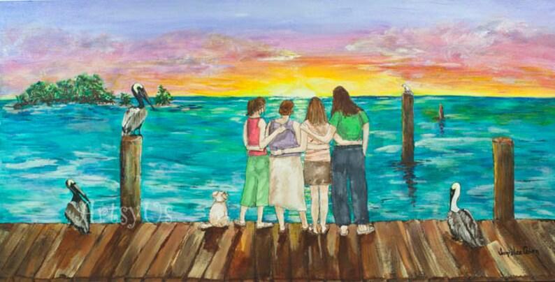 BFF Morning Original Acrylic Painting on Canvas 12 x image 0