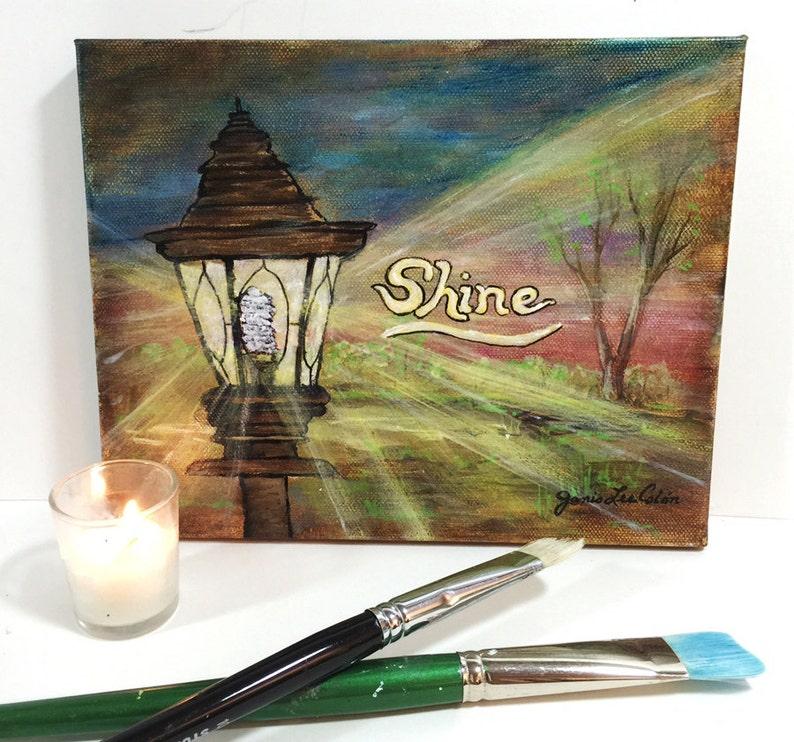 Shine original acrylic 8x10 painting on canvas image 0