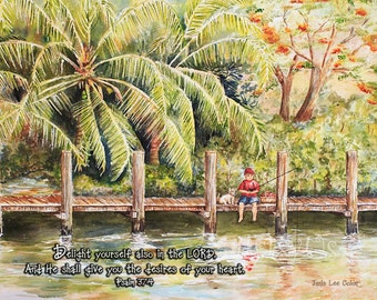 Boy Fishing with Dog - Psalm 37 inspirational scripture print