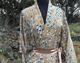 KK Silk Kimono Maxi Robe Duster - Geometric Pattern