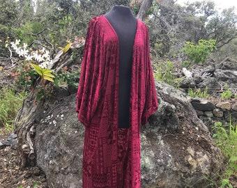 KK Kimono Maxi Robe - Velvet Burnout Pattern