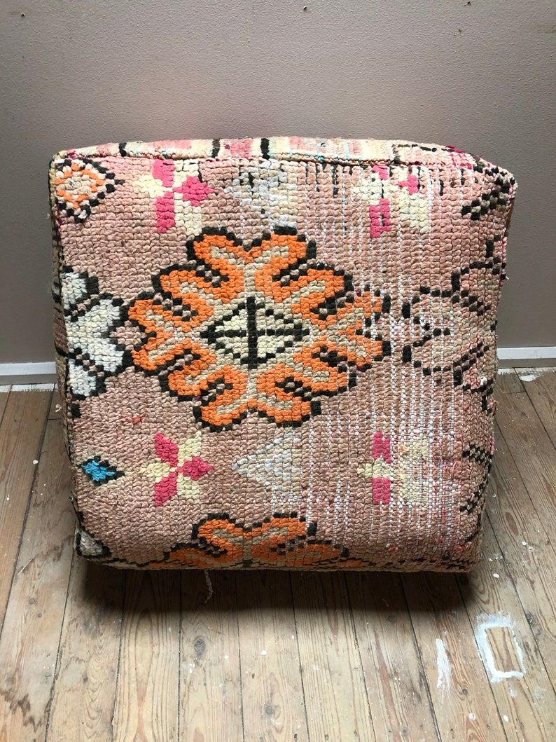 Handmade Moroccan poof 100/% wool kilim 60x60x25cm P202