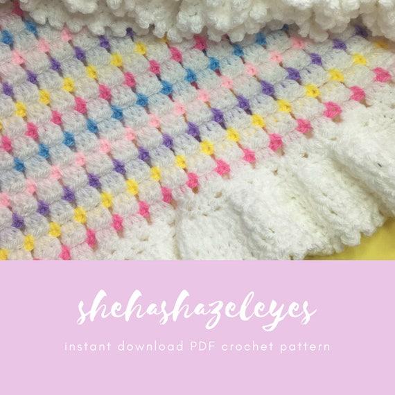 Crochet Baby Blanket Pdf Crochet Pattern Tutorial Baby Girl Etsy