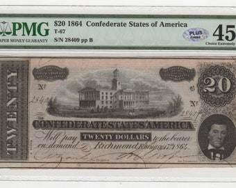 1864 Civil War CSA Confederate States of America 20 Bill Antique Note Money Currency