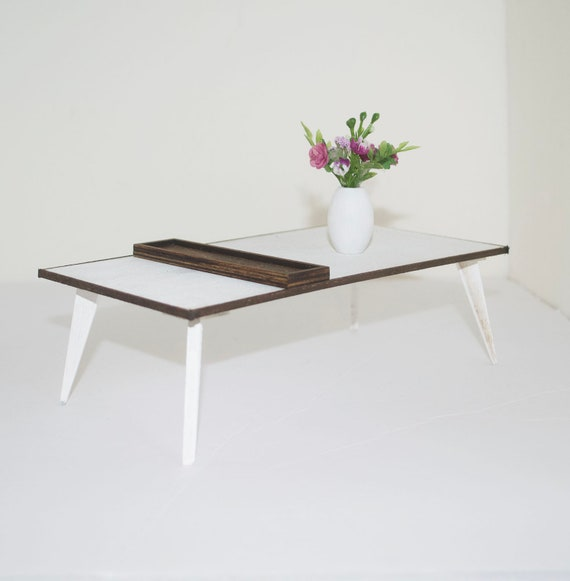 Coffee Table Mid Century 16 Scale White Stained Etsy