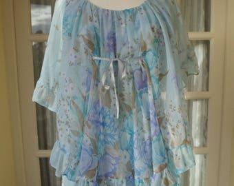 Vintage Blue Floral Long Dress Size 10/12 1970s