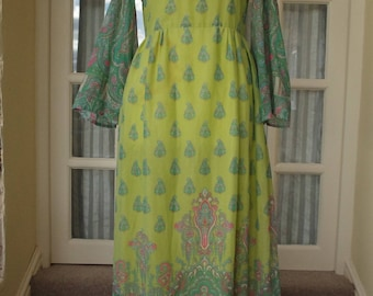 Vintage Lime Green Long Dress Size 10 1960s/1970s
