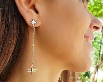 Silver dragonfly earrings, dragonfly dangle earrings, spirit guide jewelry, wildlife earrings, mothers day gift