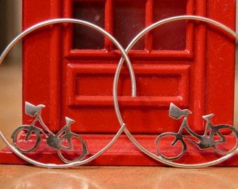 Bicycle earrings, bike studs, bicycle jewelry, cycling earrings, classic bike earrings, gift for  female cyclist