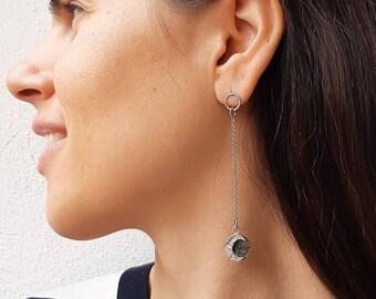 Moon phases earrings, silver moon dangle earrings, long eclipse earrings, full moon jewerly