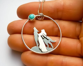Wolf and woman howling at the moon, Moon and wolf necklace, silver and turquoise necklace