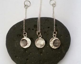 Set necklace and earrings moon phases, lunar cycle pendant, silver eclipse jewelry