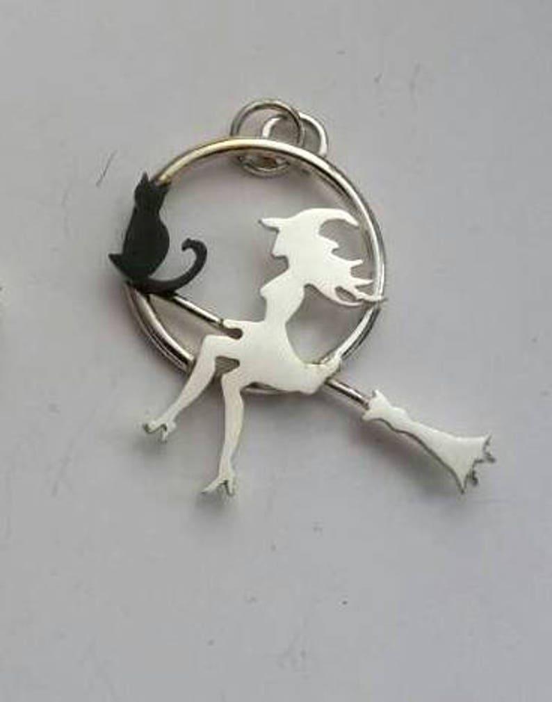 Collar de bruja bruja y gato de plata en la luna regalo para  4357c8abb88