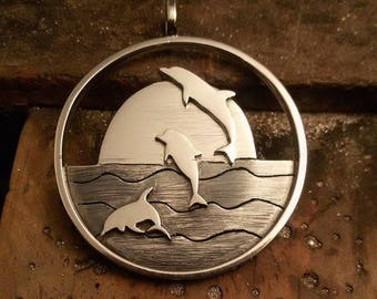 Dolphin silver pendant ,  Mothers day gift