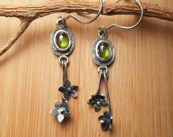 Dangle peridot and flower earrings, silver olivine earrings, long flower earrings, mother's day gift, jewelry for her