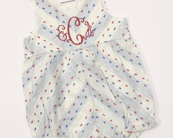 ab5fc69e1 Personalized Fourth of July Bubble - Red White and Blue - Girls Romper -  Girls Bubble - 4th of July - Independence Day - Baby girl Monogram