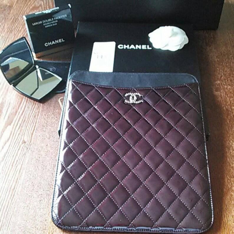 64e72ad6e2e8 CHANEL iPad Case Accessories Travel Case Luggage Black | Etsy