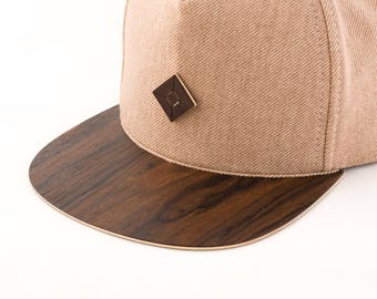 5 panel snapback hat with WOOD brim | Dads hat | five panel hat | AUSTRA headwear