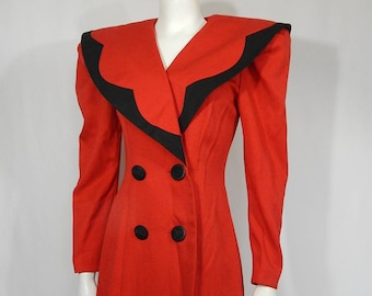 Vintage Red Black 80s Totally Eighties Dress  4 Small S Oversize Very Lady Di Sailor Collar Long Sleeve Crepe Ann Tobias Shoulder Pads