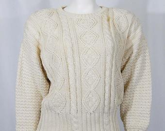 Vintage Women's Medium M Shaker Sweater Natural Ramie Cotton Deadstock Long Sleeve Knit Genuine 80s Eighties Oversize Pullover Workshop