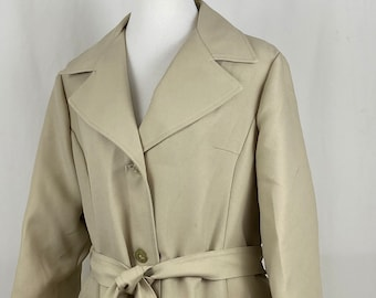 70/'s Wool Camel Short Coat Jacket  Vintage Seventies Belted Woman/'s Tan Big Collar American Bazaar Made in USA Young Feminine Style