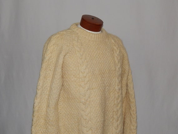 14d864c93 Vintage Men s Cable Knit Pullover Sweater Large L Ivory