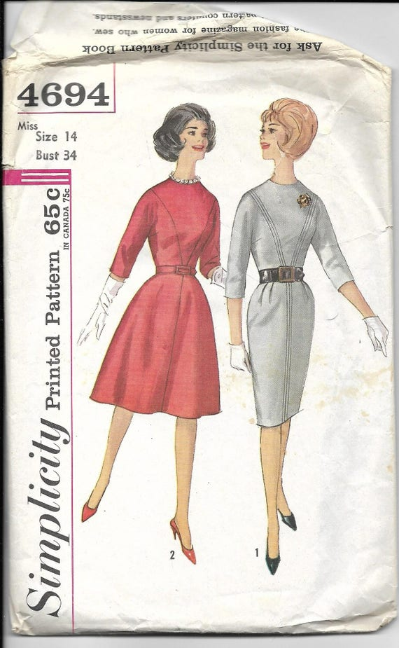Vintage Sewing Pattern Simplicity 4694 1960s Sixties | Etsy