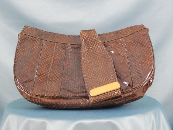 Brown Snakeskin Clutch 40's Purse Handbag Pocketbo